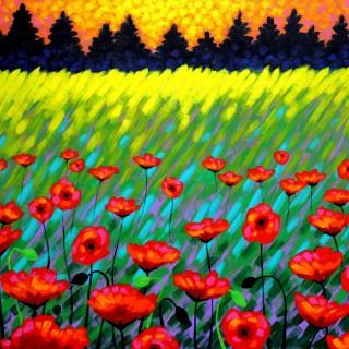 Poppy Scape - Acrylic on deep edge canvas  -  70 cm x 100 cm SOLD