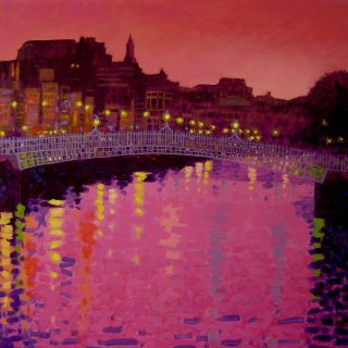 Twilight Ha'Penny Bridge - Acrylic on deep edge canvas  24