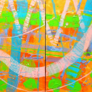 Abstract 23614 - Acrylic on deep edge canvas - Diptych ( 2 canvases ) 39