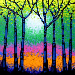 7 Trees - Acrylic on box canvas 30
