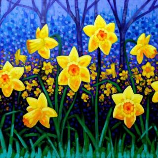 Daffodil Cluster - Acrylic on deep edge canvas 76 cm x 100 cm SOLD