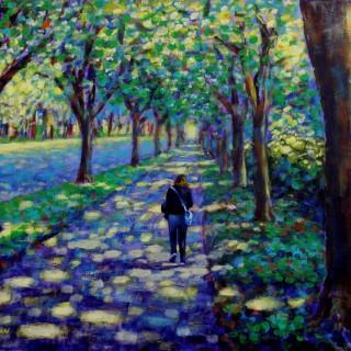 A Stroll On Griffth Avenue - Acrylic on canvas panel 16