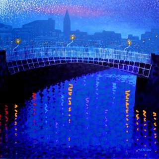 Starry Night In Dublin - Acrylic on deep edge canvas - 100 cm x 100 cm  SOLD