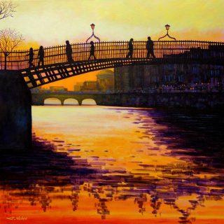 Ha' Penny Bridge Dublin - Acrylic on deep edge canvas 27