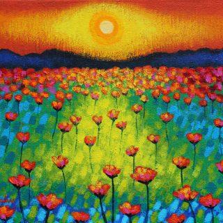 Poppy Sunburst - Acrylic on deep edge canvas 20