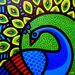 Peacock - Acrylic on deep edge canvas 20