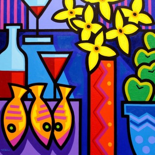 Still Life With Three Fish - Acrylic on deep edge canvas - Square 32
