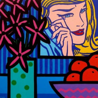 Still Life With Lichtensteins Crying Girl - Acrylic on deep edge canvas - Square 20