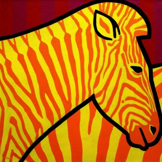 Cadmium Zebra - Acrylic on deep edge canvas - Square 24