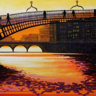 James Joyce Crosses the Ha'penny Bridge - Original acrylic painting on stretched canvas 26