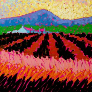 Magenta Roofs - Original Acrylic painting on stretched canvas 20