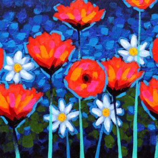 Poppy Notation - Original Acrylic Painting on canvas board 14