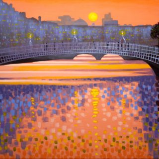 Ha'Penny Bridge Dublin -  acrylic on stretched canvas  20