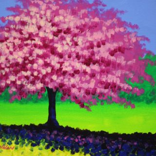 Cherry Blossom Tree Acrylic On Stretched Canvas 11 Inches X 14 Inches €250