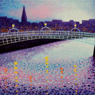 Ha Penny Bridge Acrylic On Stretched Canvas 12 Inches X 16 Inches €250