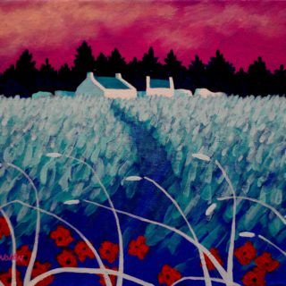 Turquoise Meadow Acrylic On Stretched Canvas 11 X 14 Inches SOLD €250