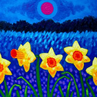 Daffs And Magenta Moon 12 Inches X 16 Inches Acrylic On Stretched Canvas 250e