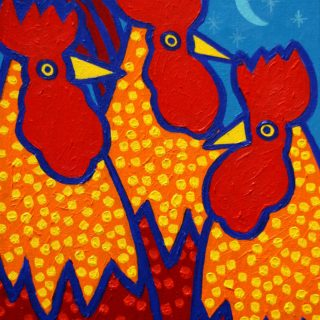 Funky Roosters Acrylic On Stretched Canvas 14inches X 11 Inches Sold €250
