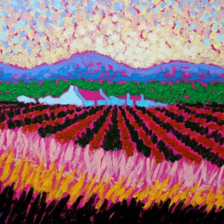 Magenta Roofs 12 Inches X 16 Inches Acrylic On Stretched Canvas €250
