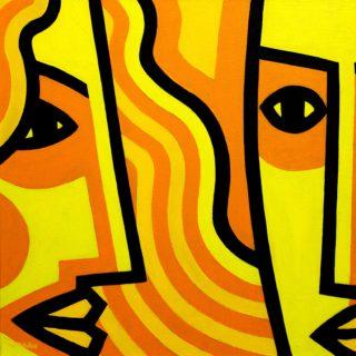 Cadmium Lovers Acrylic On Deep Edge Canvas 50cm X 50cm Price €875