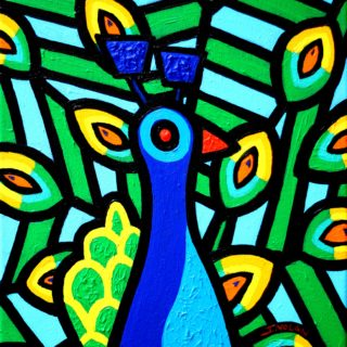 Peacock- acrylic on stretched canvas - 14 inches x 11 inches - SOLD €250