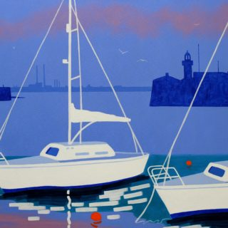 2 Yachts Dunlaoghaire Harbour Acrylic On Deep Edge Canvas 28inches X 40 Inches Framed €1,975. 12 Limited Edition, Gicleé prints of selected paintings are also available. Each print is signed, numbered and titled by John. The image size is 28 by 40cm approx on ivory mount measuring 40 by 50cm. Each print is priced at €165.