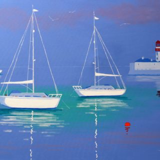 3 Yachts Dunlaoghaire Acrylic On Deep Edge Canvas 28inches X 40 Inches Framed €1,975 SOLD.12 Limited Edition, Gicleé prints of selected paintings are also available. Each print is signed, numbered and titled by John. The image size is 28 by 40cm approx on ivory mount measuring 40 by 50cm. Each print is priced at €165.