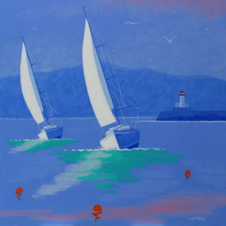 At Swim 2 Yachts Acrylic On Deep Edge Canvas 20inches X 20inches Framed €775 SOLD 22 7 2020 001