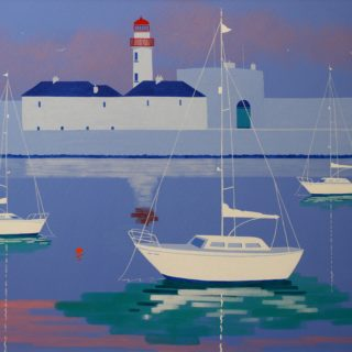 Dunlaoghaire Harbour Acrylic On Deep Edge Canvas 28inches X 40 Inches Framed SOLD 19 7 2020 B 003