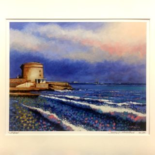 Seapoint Limited Edition Giclée Print: 30 prints only ( 35cm x 28cm) signed, numbered , titled and stamped by the artist. Mounted in conservation mounting board  (mount size 50cm x 40cm).  €165 incl. postage and packaging