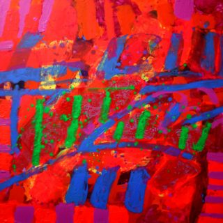 Culture Night 22 9 2020 002 - acrylic and gel medium-  on deep edge canvas - varnished - floating frame -  canvas size 76cm x 76cm - SOLD