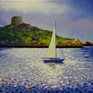 Dalkey Island 25 9 2020 027 - acrylic on stretched canvas - varnished - Framed - canvas size 20