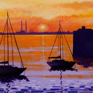 Sunset Dun Laoghaire Harbour 28 10 2020 016 - acrylic on stretched canvas - framed  - canvas size 20