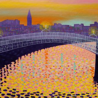 Autumn Ha'Penny Bridge H P 11 11 2020 032 - SOLD - acrylic on stretched canvas - 20