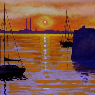Sunset Dun Laoghaire Harbour II 22 11 20 001 - Acrylic on stretched canvas - varnished 20