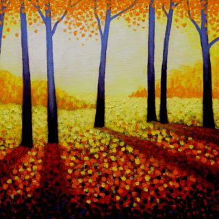 Seven Purple Trees - SOLD - 20 X 16 Acrylic On Canvas Panel Varnished Framed Price €695