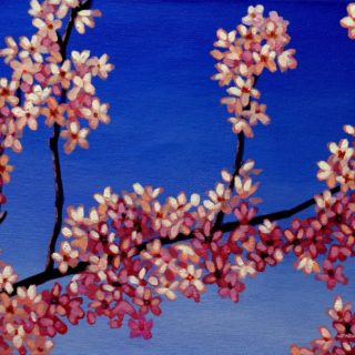 Cherry Blossoms 10 3 2021 132 -  - acrylic on stretched canvas - varnished-  framed  - canvas size - 12