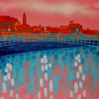 Ha Penny Bridge - Acrylic on stretched canvas - varnished and framed - €695