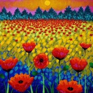 Poppy Vista - Acrylic on stretched canvas - varnished and framed - €695