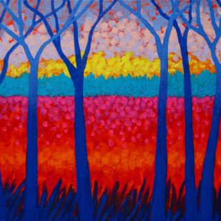 Seven Trees 9 6 2021 002 - Acrylic on stretched canvas - varnished and framed - €695